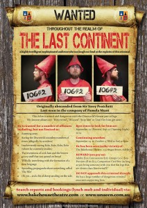 Unseen A3 poster high res 212x300 THEATRE   The Last Continent   Bakehouse from Sept 19